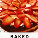 Baked Cheesecake topped with whipped cream and strawberries. A recipe by It's Not Complicated Recipes.