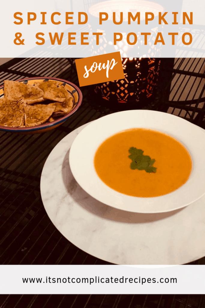 Spiced Pumpkin and Sweet Potato Soup | It's Not Complicated Recipes #pumpkin #sweetpotato #soup #easyrecipes #glutenfree #vegetarian #healthyrecipes #veganrecipes #easyvegan