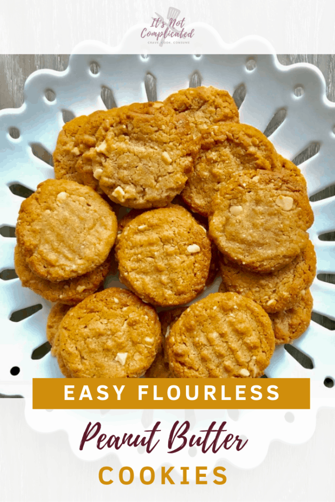 Easy Flourless Peanut Butter Cookies - It's Not Complicated Recipes #glutenfree #desserts #cookies #glutenfreerecipes #cookierecipes #flourless #peanutbutter #snacks #easydessert