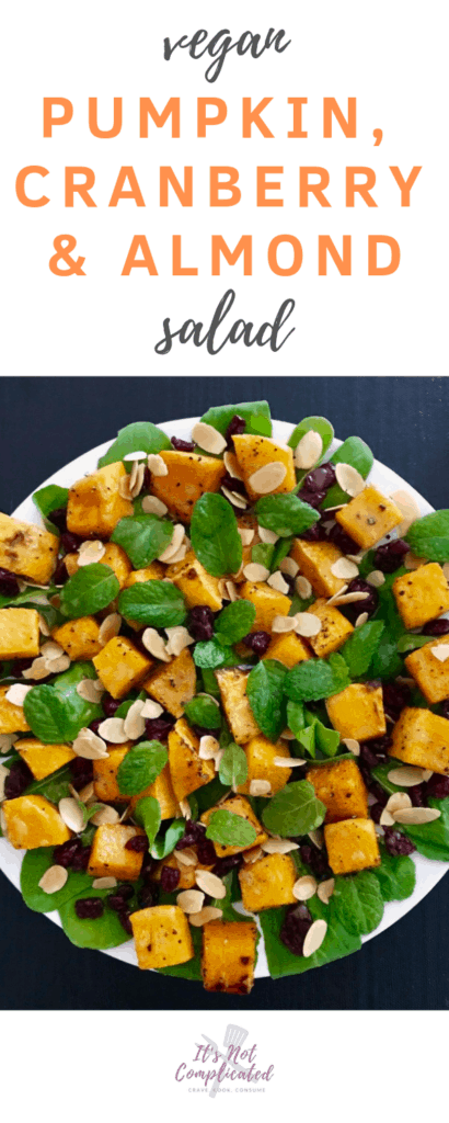 Vegan Pumpkin, Cranberry and Almond Salad - It's Not Complicated Recipes #vegan #pumpkin #salad #easyrecipes #cranberry #almond #vegetarian