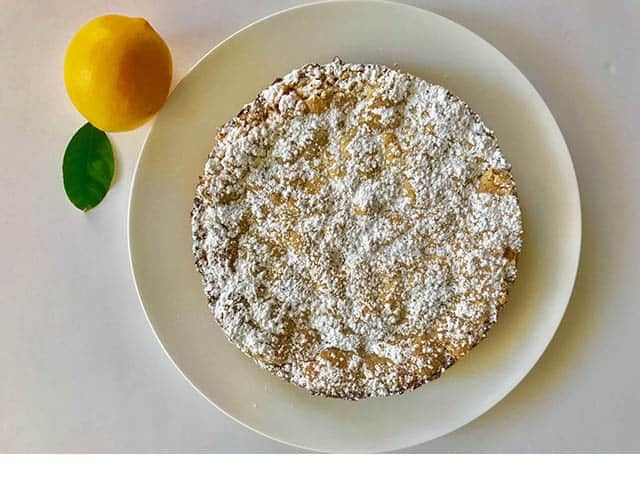 Belgian Lemon Tea Cake on a plate