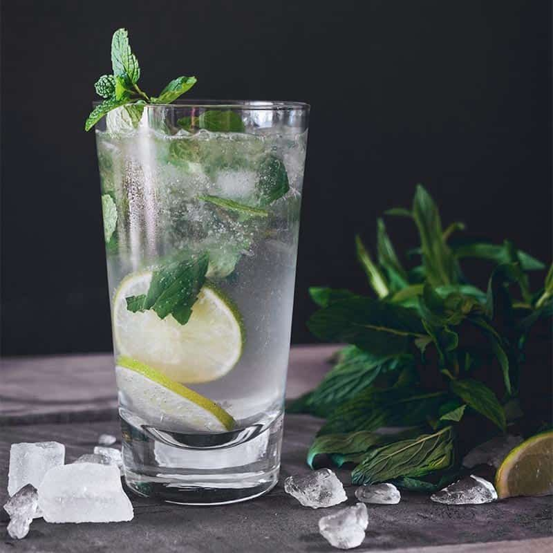 Water with mint in a glass