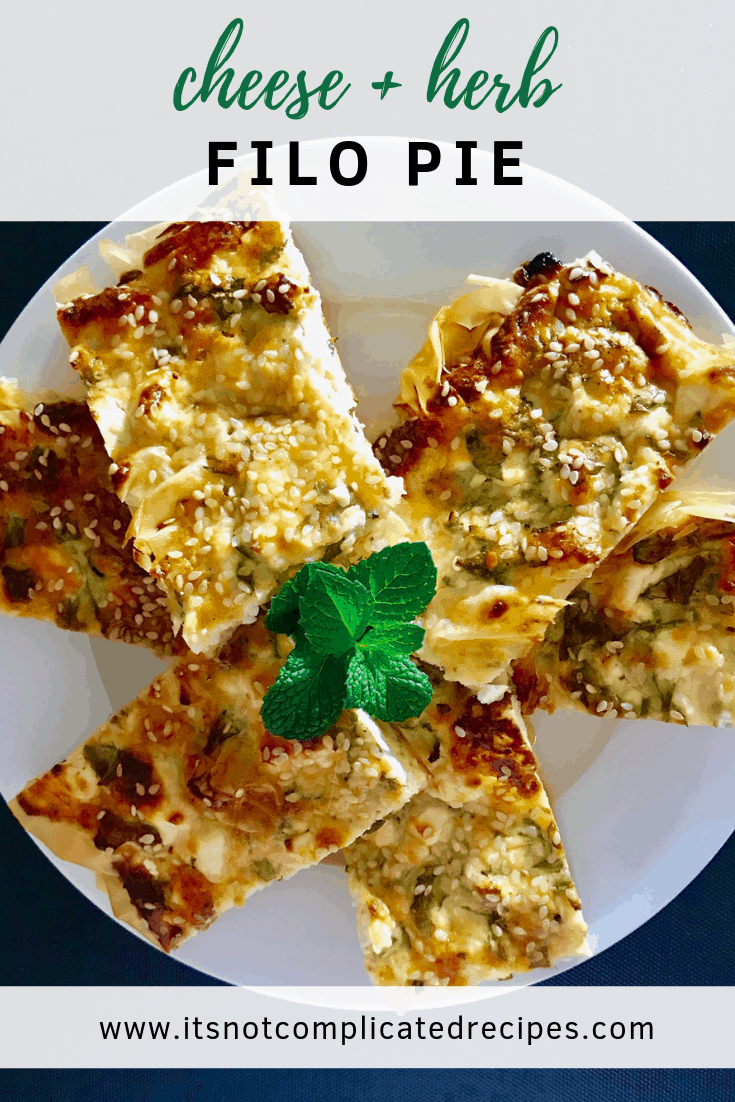 Cheese and Herb Filo Pie - It's Not Complicated Recipes #filo #filopastry #cheese #sides #pastryrecipes