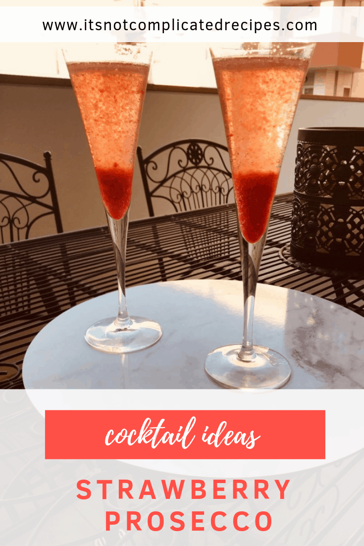 Cocktail Ideas - Strawberry Prosecco - It's Not Complicated Recipes #cocktailideas #prosecco #champagne #drinkideas #alcoholicdrinks #cocktail #partydrinks #strawberry #strawberryprosecco