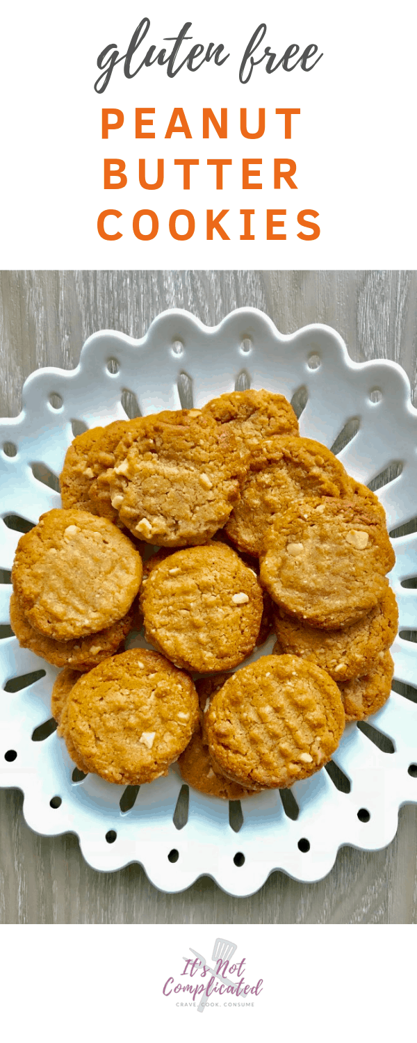 Gluten Free Peanut Butter Cookies - It's Not Complicated Recipes #glutenfree #cookies #desserts #peanutbutter #easyrecipes