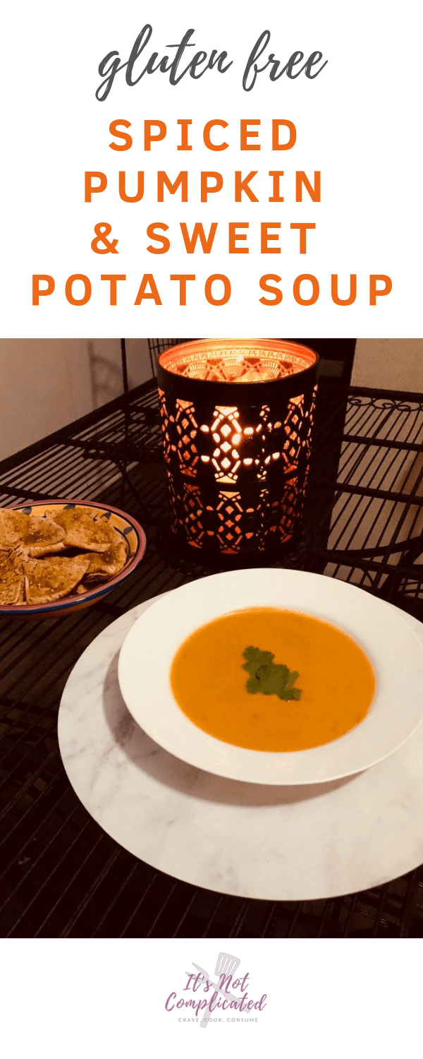 Gluten Free Spiced Pumpkin and Sweet Potato Soup 2 - It's Not Complicated Recipes #glutenfree #soup #souprecipes #pumpkin #sweetpotato #easyrecipes #starters