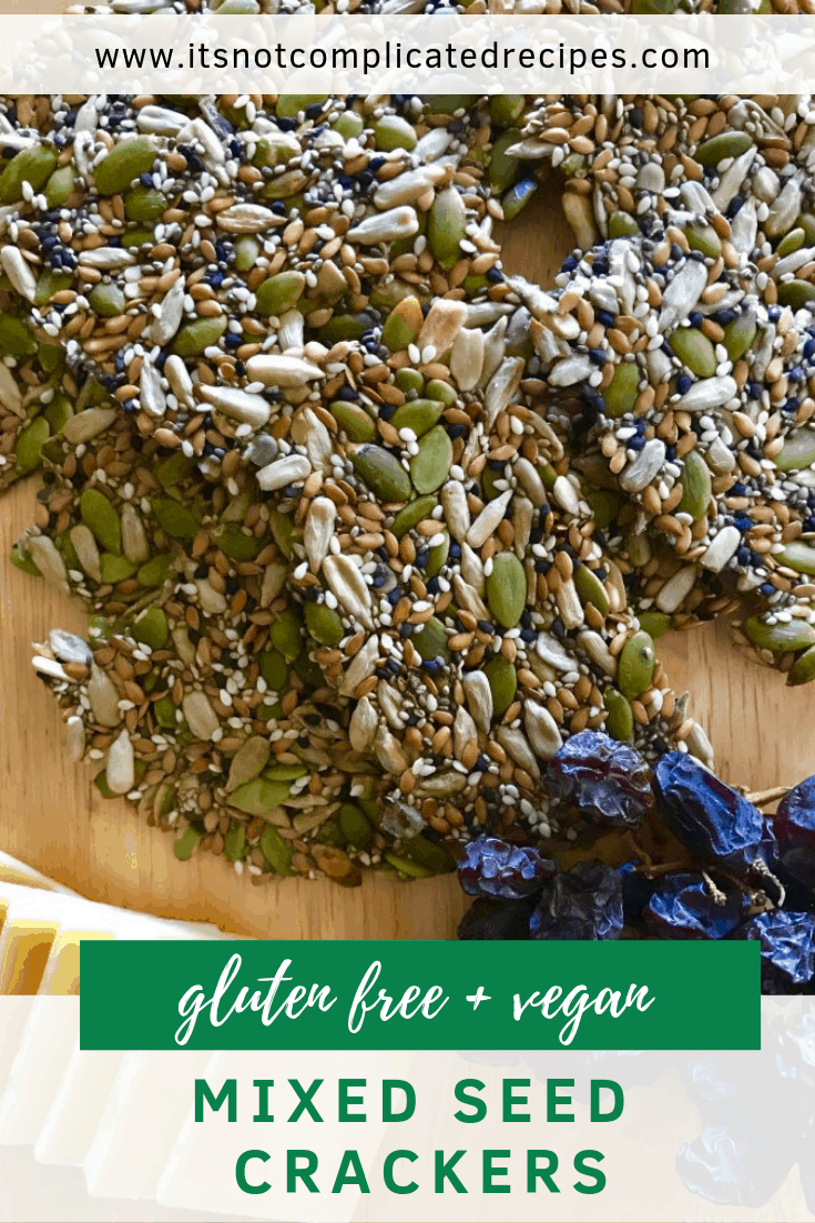 Gluten Free and Vegan Mixed Seed Crackers - It's Not Complicated Recipes #glutenfree #crackers #seedrecipes #seeds #sides #crackers #vegan