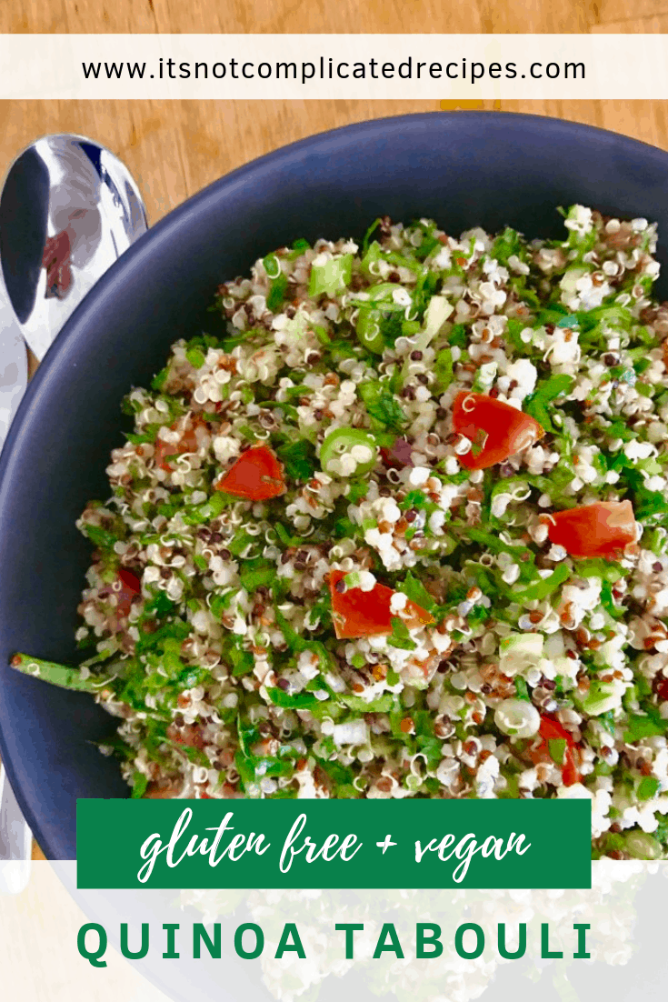 Gluten Free and Vegan Quinoa Tabouli - It's Not Complicated Recipes #quinoa #tabouli #vegan #glutenfreerecipes #sidedishes