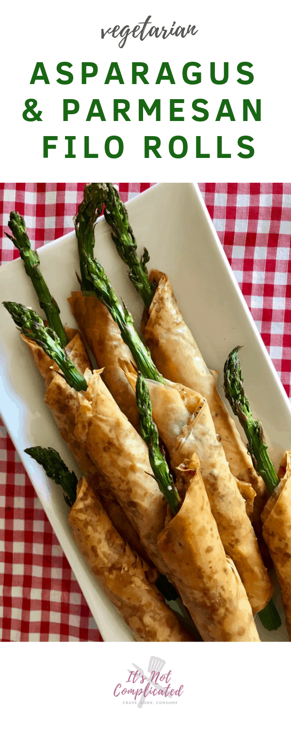 Vegetarian Asparagus and Parmesan Filo Rolls - It's Not Complicated Recipes #asparagus #filorolls #pastry #sides #canapes #appetisers #partyfood