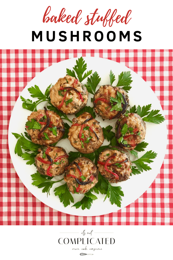 Baked Stuffed Mushrooms - It's Not Complicated Recipes #mushrooms #partyfood #stuffedmushrooms #glutenfree #appetisers #vegetable #easyrecipes