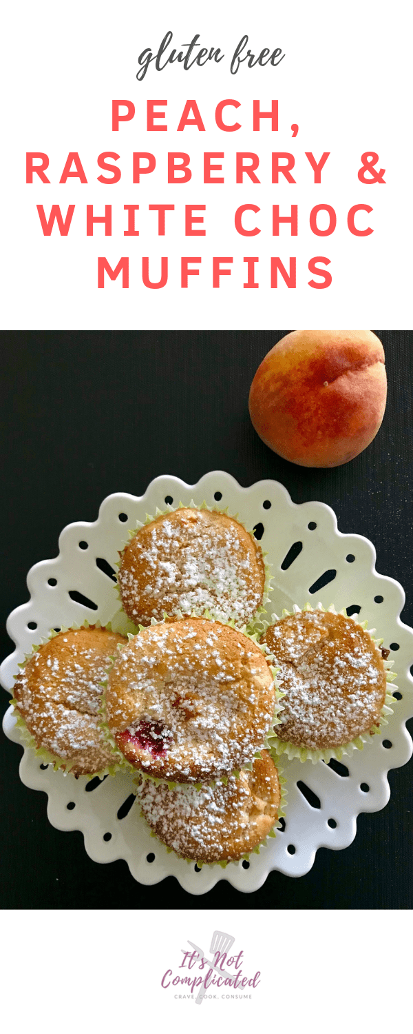 Gluten Free Peach, Raspberry and White Chocolate Muffins - It's Not Complicated Recipes #dessert #muffins #whitechocolate #peach #raspberry #glutenfree #dessertideas #partyfood