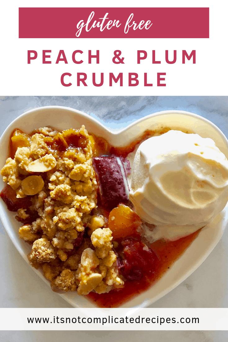 Gluten Free Peach and Plum Crumble - It's Not Complicated Recipes #peach #plum #desserts #glutenfree #easyrecipes #sweetreats
