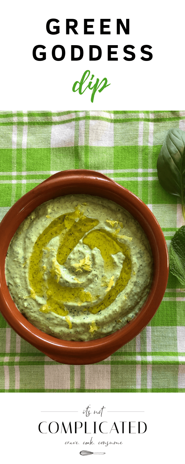 Green Goddess Dip - It's Not Complicated Recipes #dip #vegetarian #partyfood #dipideas #sharefood #simplerecipes #easyrecipes