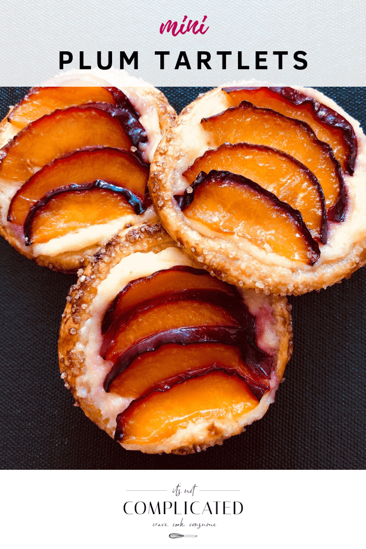 Mini Plum Tartlets - It's Not Complicated Recipes #desserts #easydesserts #pastry #puffpastry #partyfood #easyrecipes #bbq #summerdesserts #plum #tarts #tartlets #sweet #sweettreats