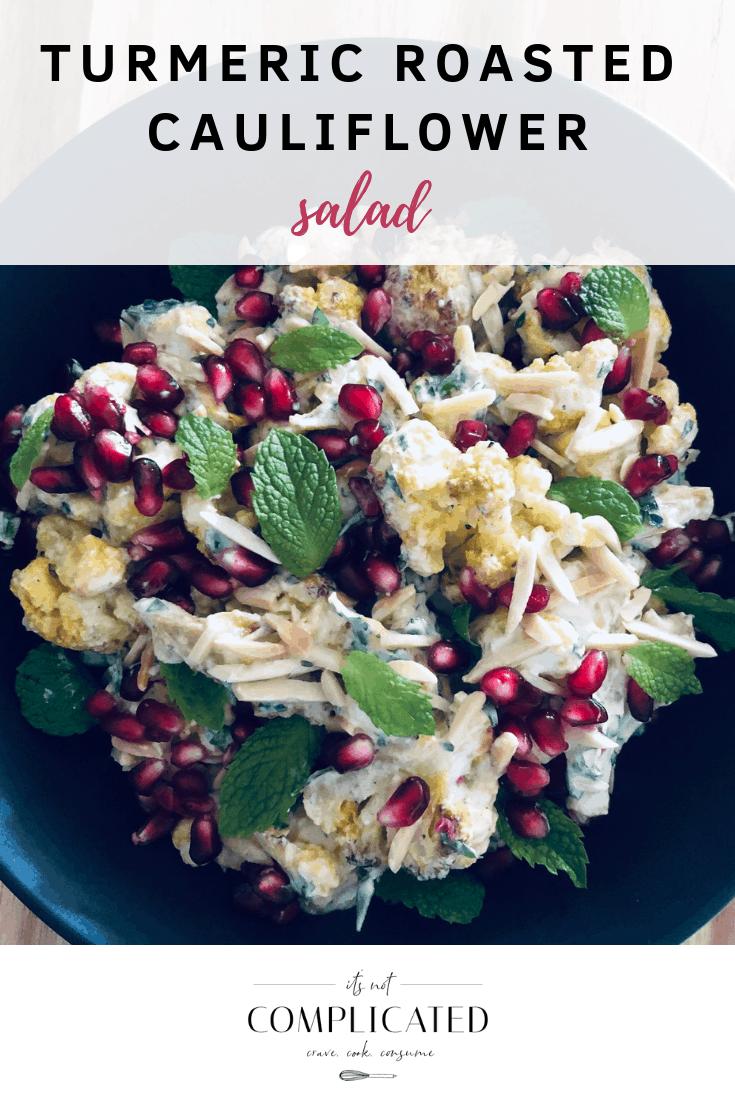 Turmeric Roasted Cauliflower Salad - It's Not Complicated Recipes #turmeric #saladrecipes #cauliflower #vegetable