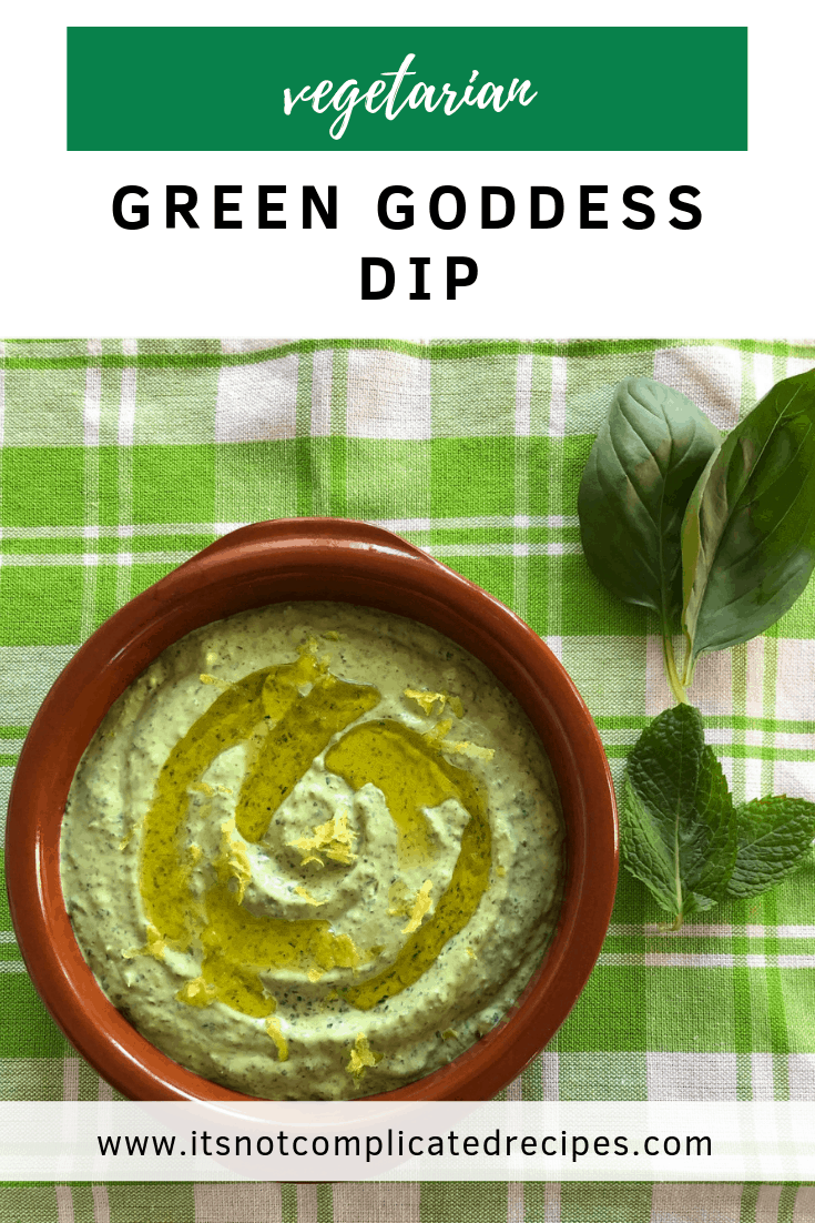Vegetarian Green Goddess Dip - It's Not Complicated Recipes #dip #vegetarian #partyfood #dipideas #sharefood #simplerecipes #easyrecipes