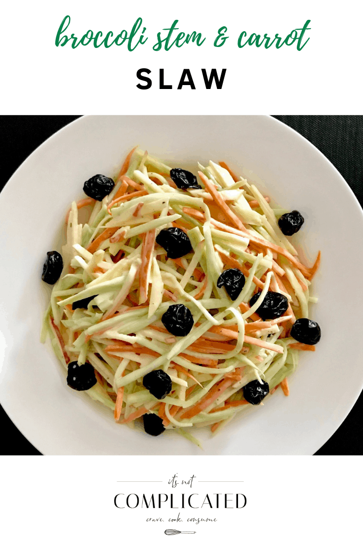 Broccoli Stem and Carrot Slaw - It's Not Complicated Recipes #salad #slaw #partyfood #broccoli #broccolistems #carrots #easyrecipes #glutenfree #vegetarian #sides #sidedishes