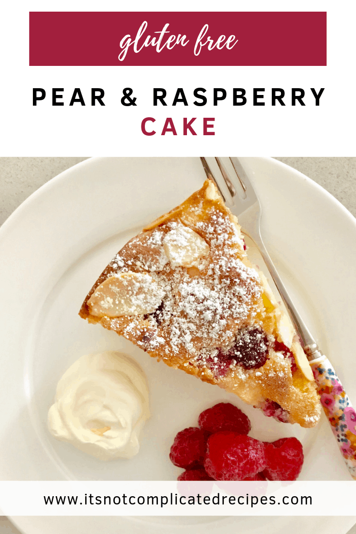 Gluten Free Pear and Raspberry Cake - It's Not Complicated Recipes #pear #raspberry #cake #glutenfree #frangipane #sweettreats #dessert #cakerecipes #easyrecipes