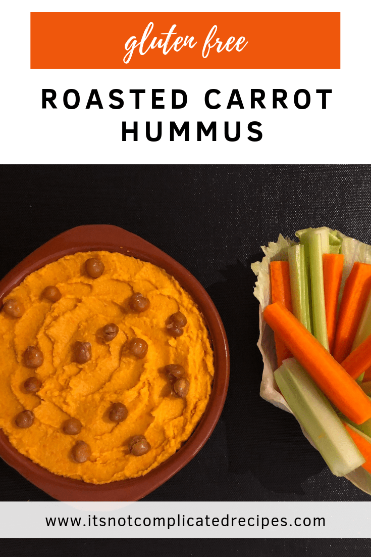 Gluten Free Roasted Carrot Hummus - It's Not Complicated Recipes #dip #hummus #houmous #glutenfree #partyfood #crudites #easyrecipes #carrots #vegetables #vegetarian