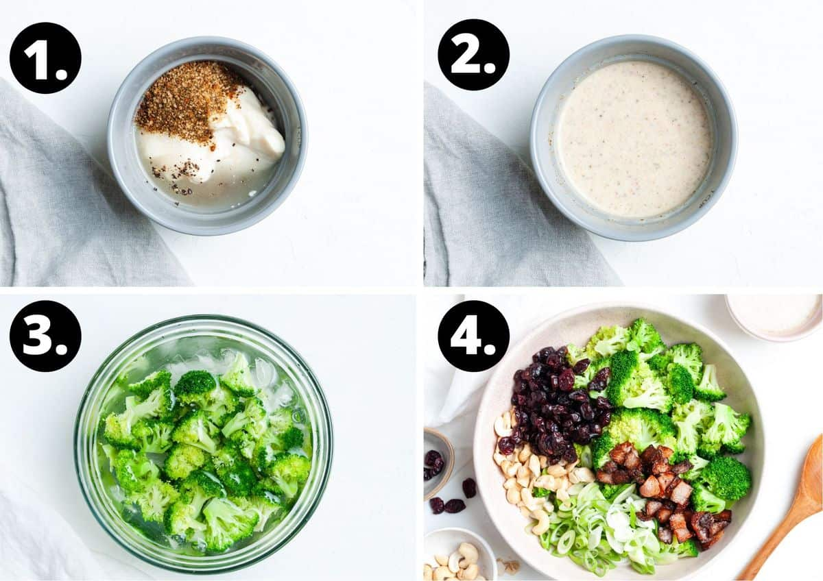 The four steps to prepare this recipe in a photo collage - the ingredients for the dressing in a bowl, the mixed dressing, the cooked broccoli in an ice bath and all of the ingredients in a bowl.