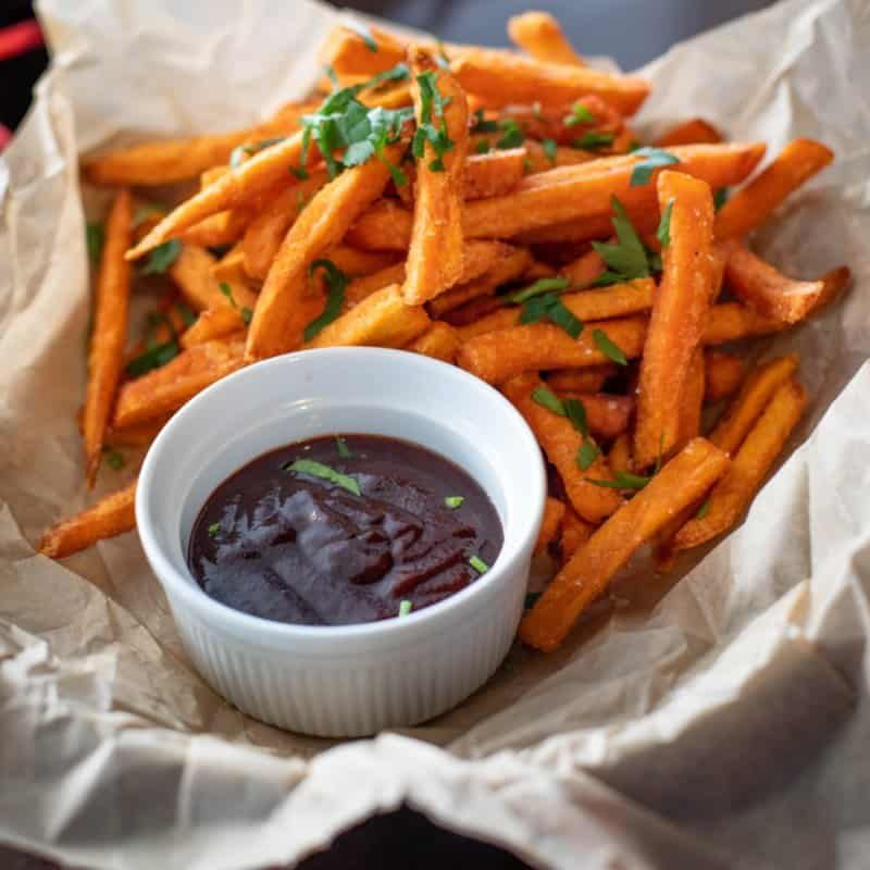 Sweet potato fries and ketchup