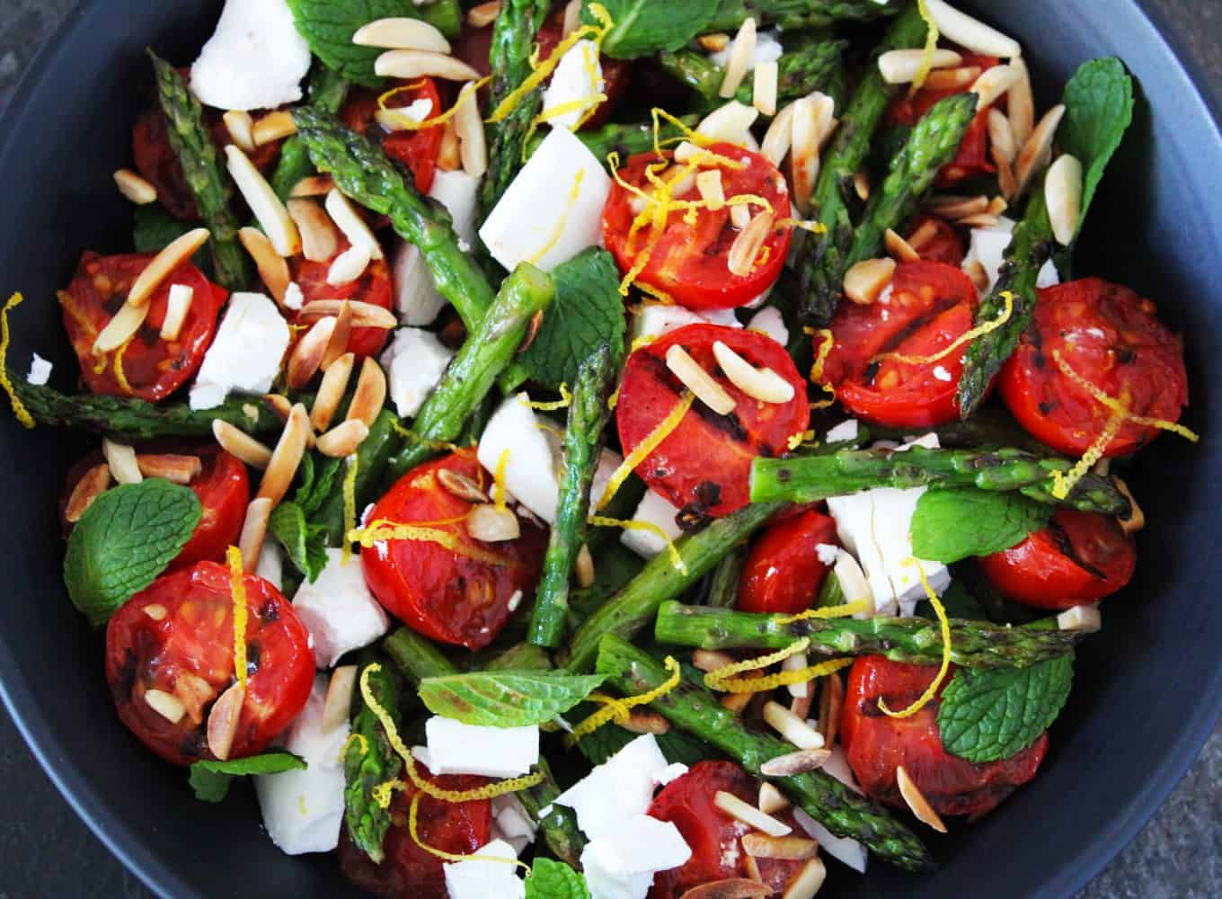 Bowl of asparagus salad.