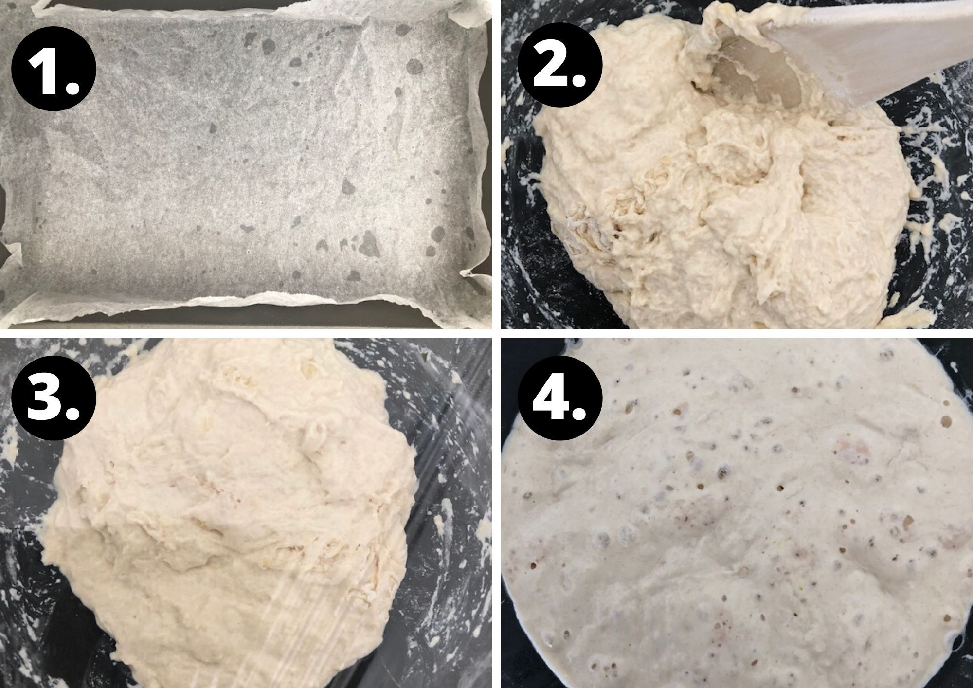 first four steps in making the focaccia.