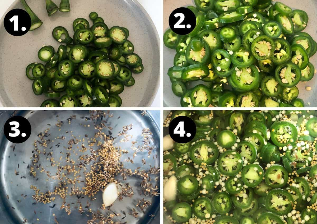 photos of the step by step instructions of how to prepare the pickled jalapenos.
