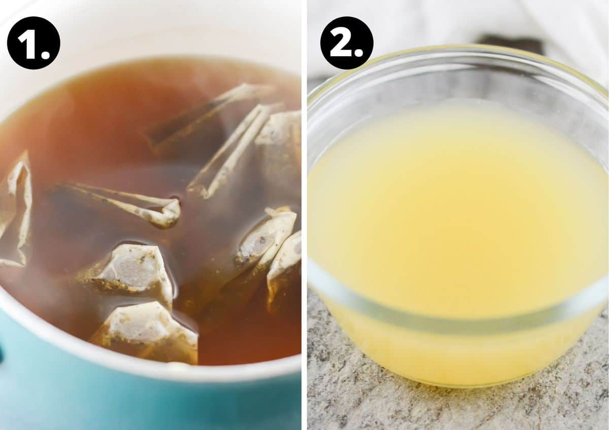two process steps to make iced tea.