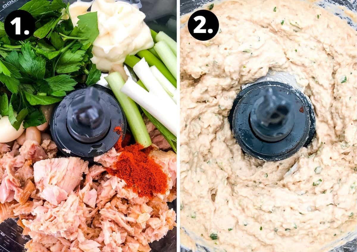 the two steps to make the tuna and white bean dip.