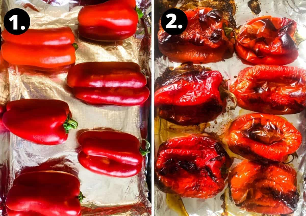 Two steps showing how to prepare roasted capsicums on a foil lined baking tray.