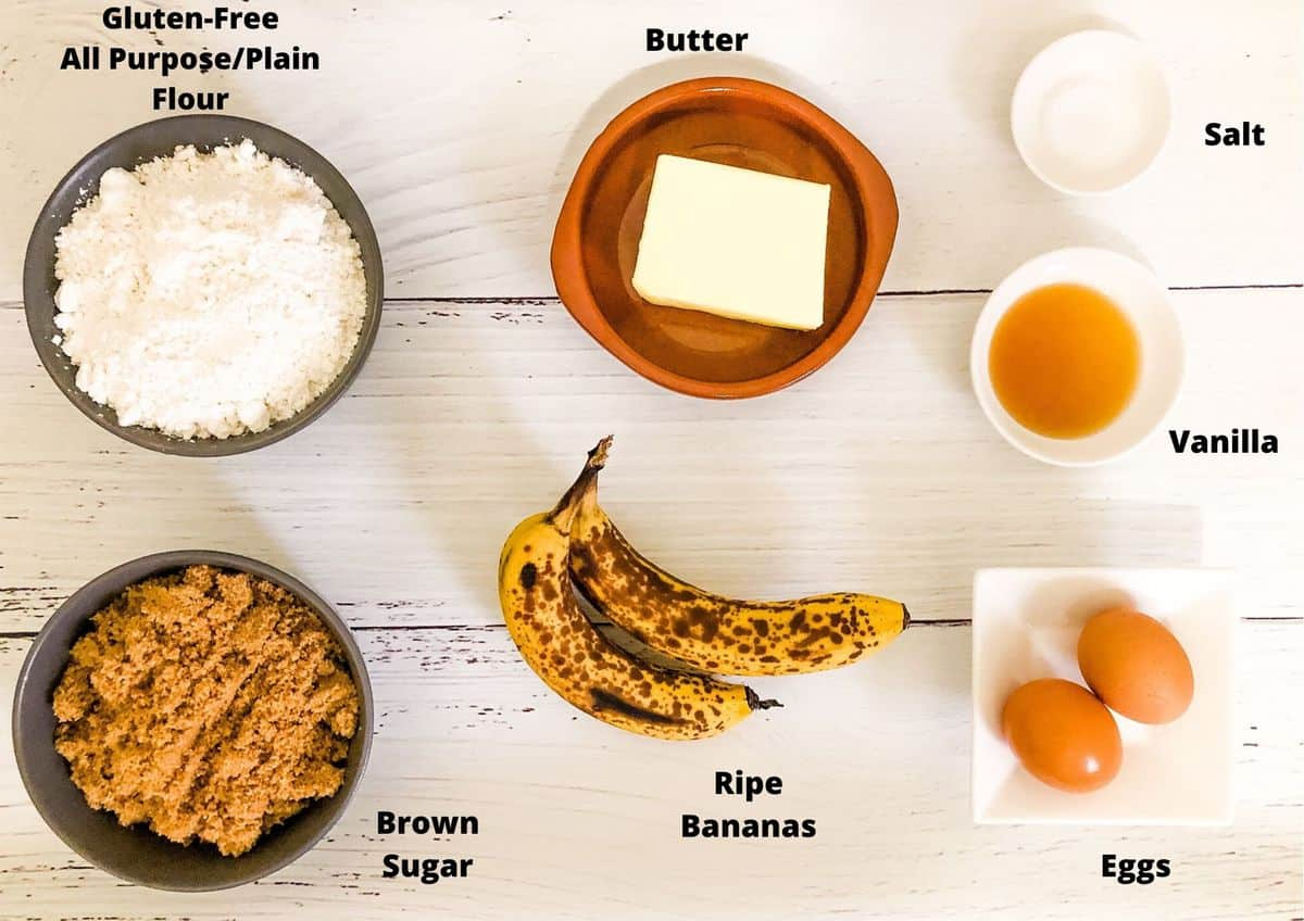 ingredients used in this recipe for the blondies, on a white background.