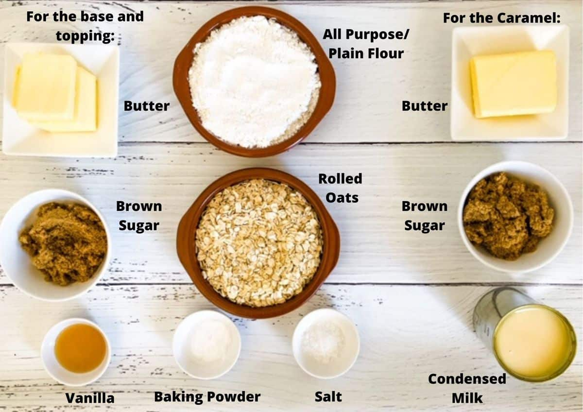ingredients used in this recipe for caramel crumb bars