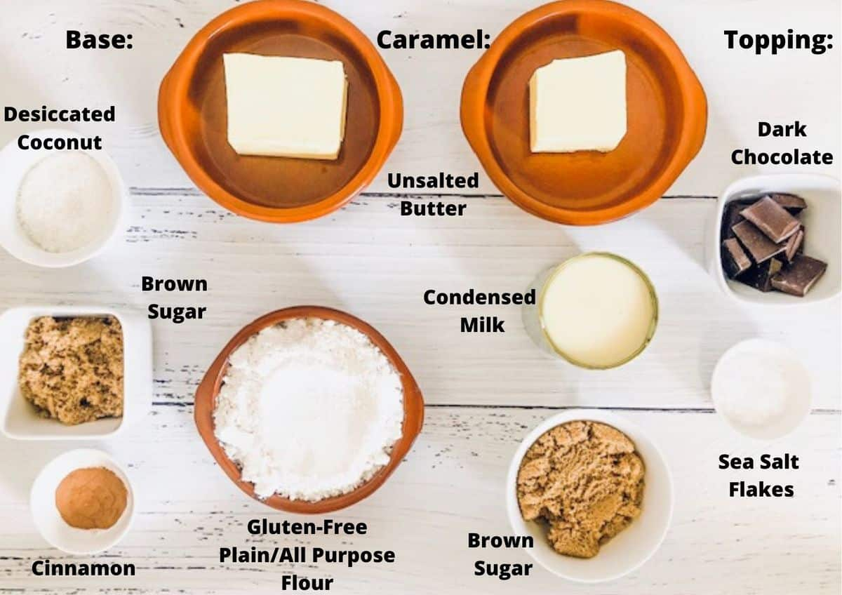 Ingredients used to make the Caramel Slice.