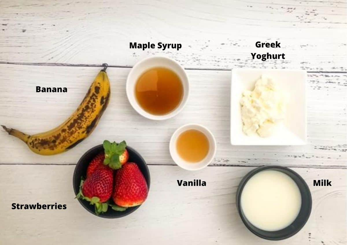 Ingredients in this recipe on a white timber background.