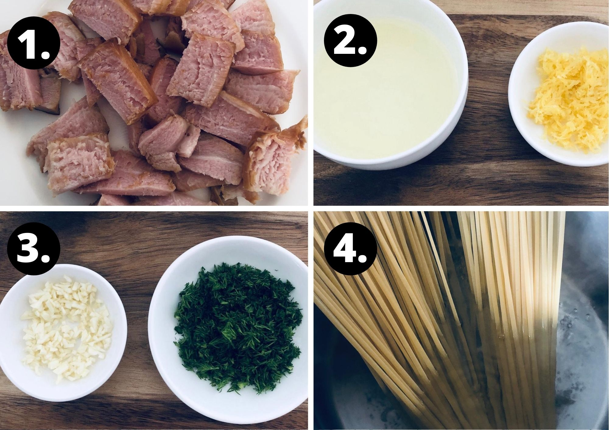 first four steps in preparing this recipe.