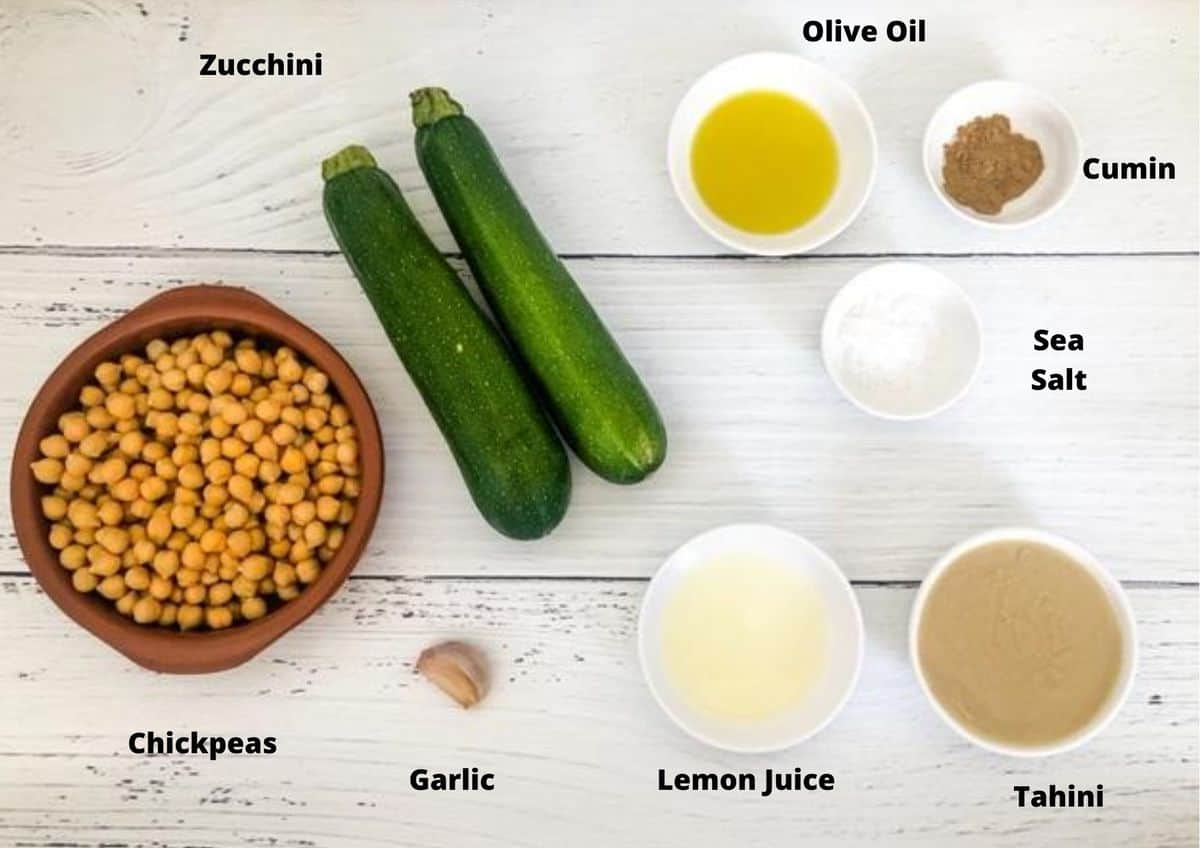 ingredients in this recipe for zucchini hummus