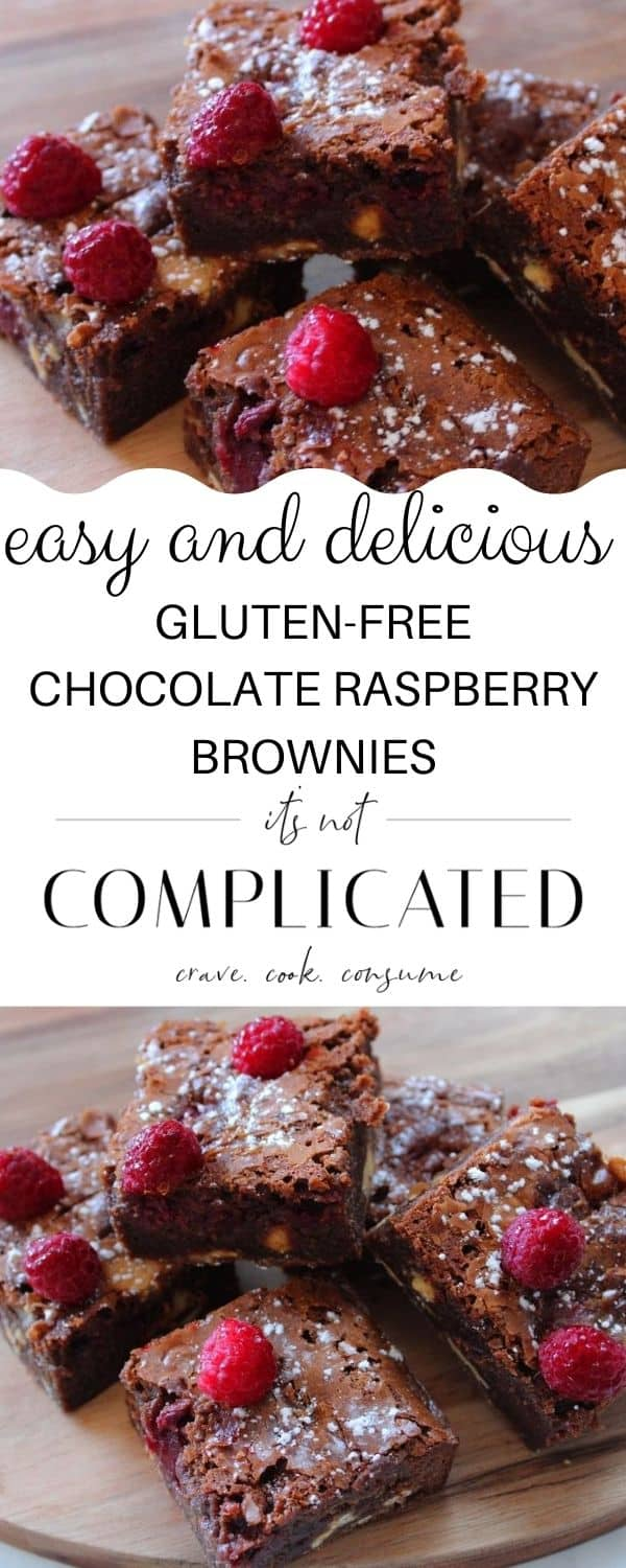 pinterest image with two photos of brownies (top and bottom) and text overlay in the centre.