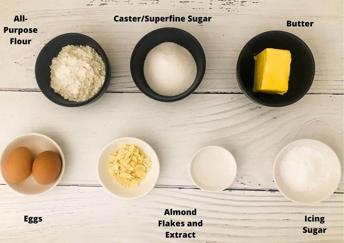 Ingredients in this recipe, sitting on a white timber bench.