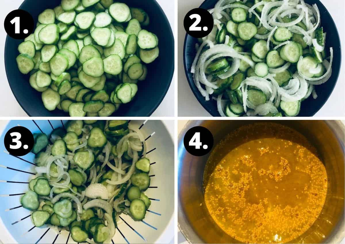 the first four steps of preparing the pickles.