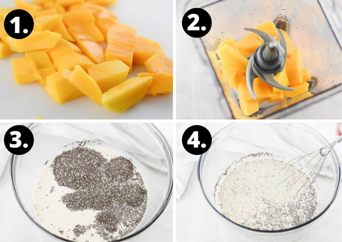 The four steps to prepare this recipe for chia pudding.