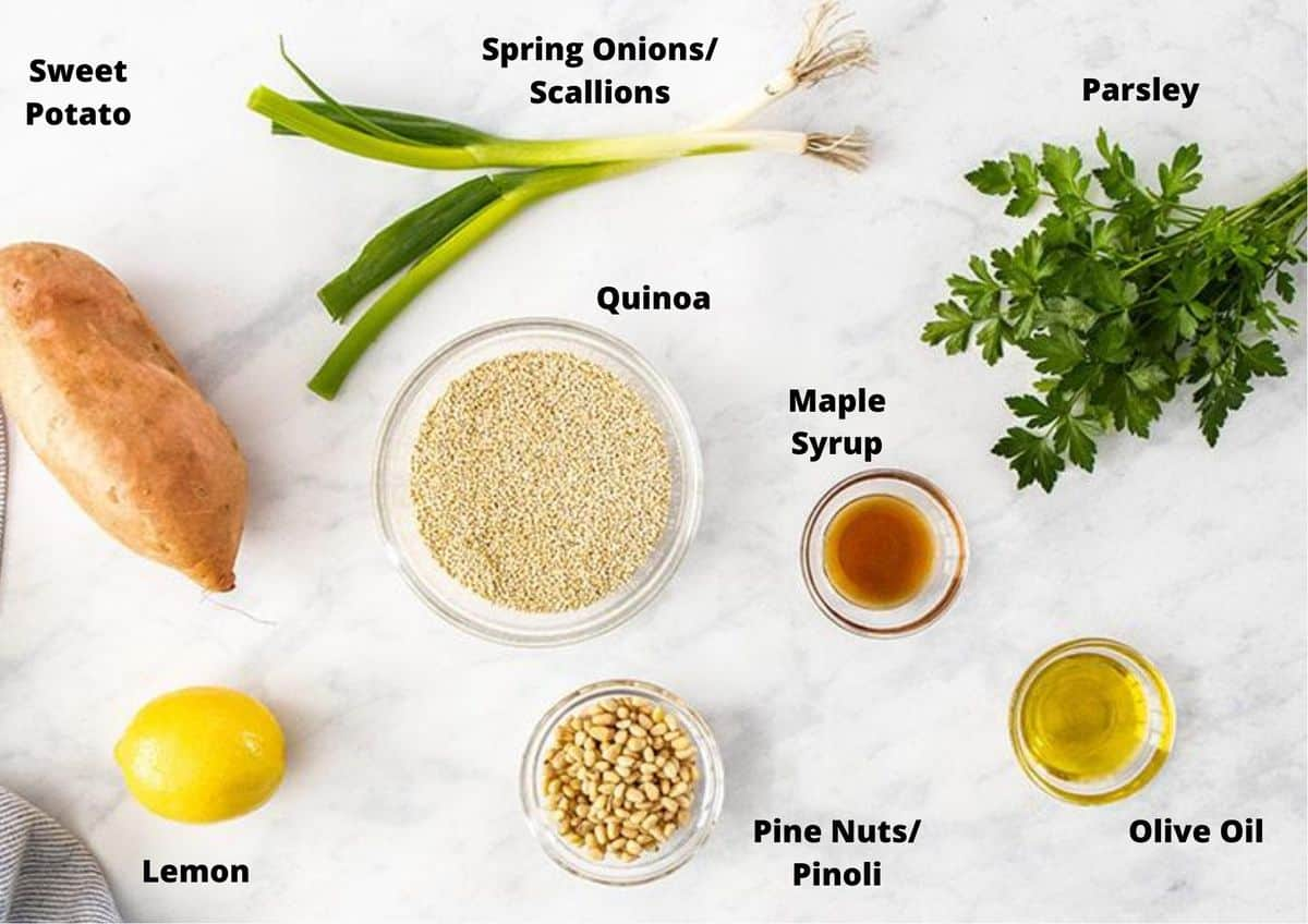 ingredients in this recipe on a white marble background.