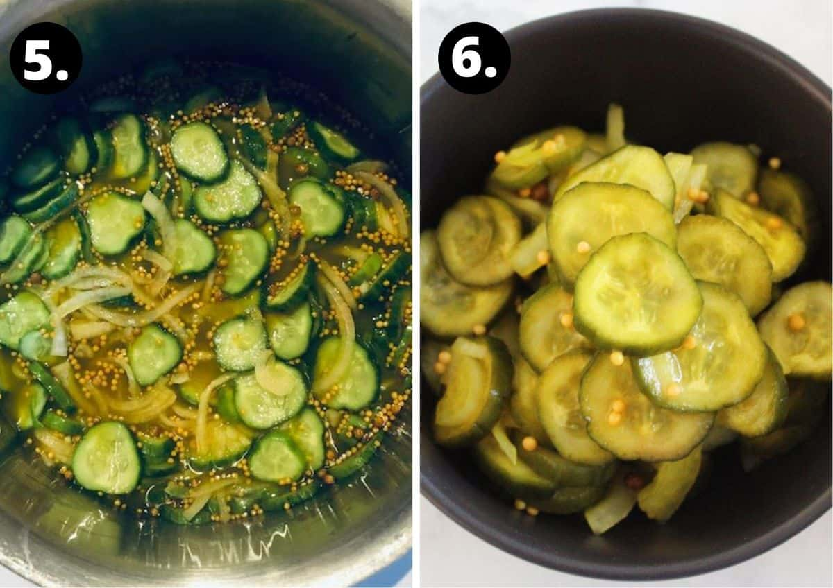 the final two steps of preparing the pickles.