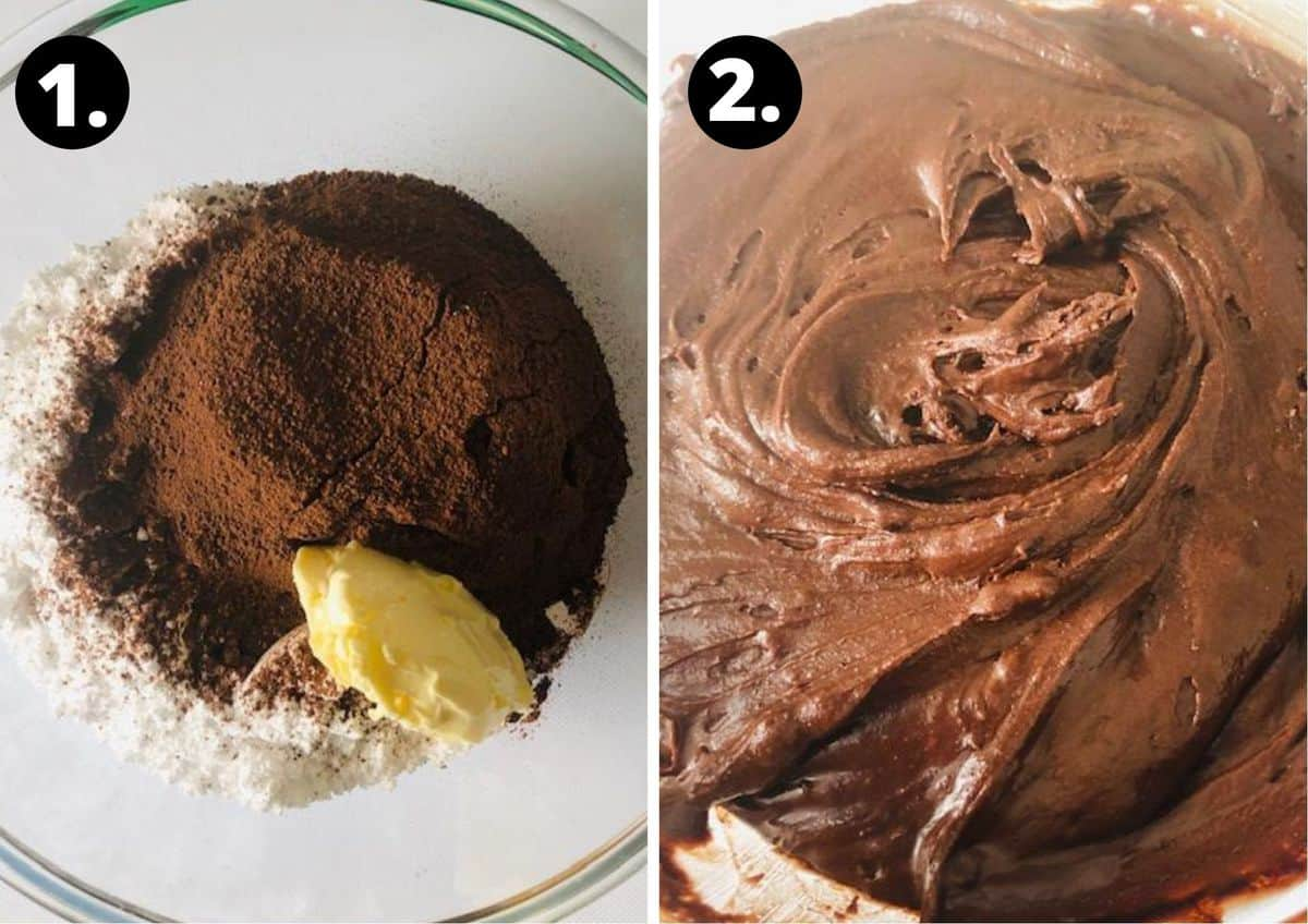 the two steps to make the frosting.
