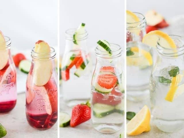 infused water - three varieties in glass bottles.