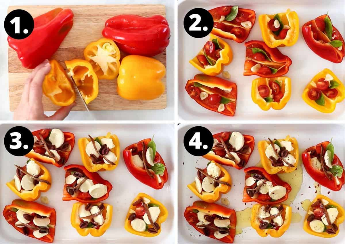 the four steps required to make this recipe in a photo collage - chopping the peppers, placing them in a baking dish, filling them with tomato, cheese, anchovies, olives and sprinkling them with seasoning and olive oil.