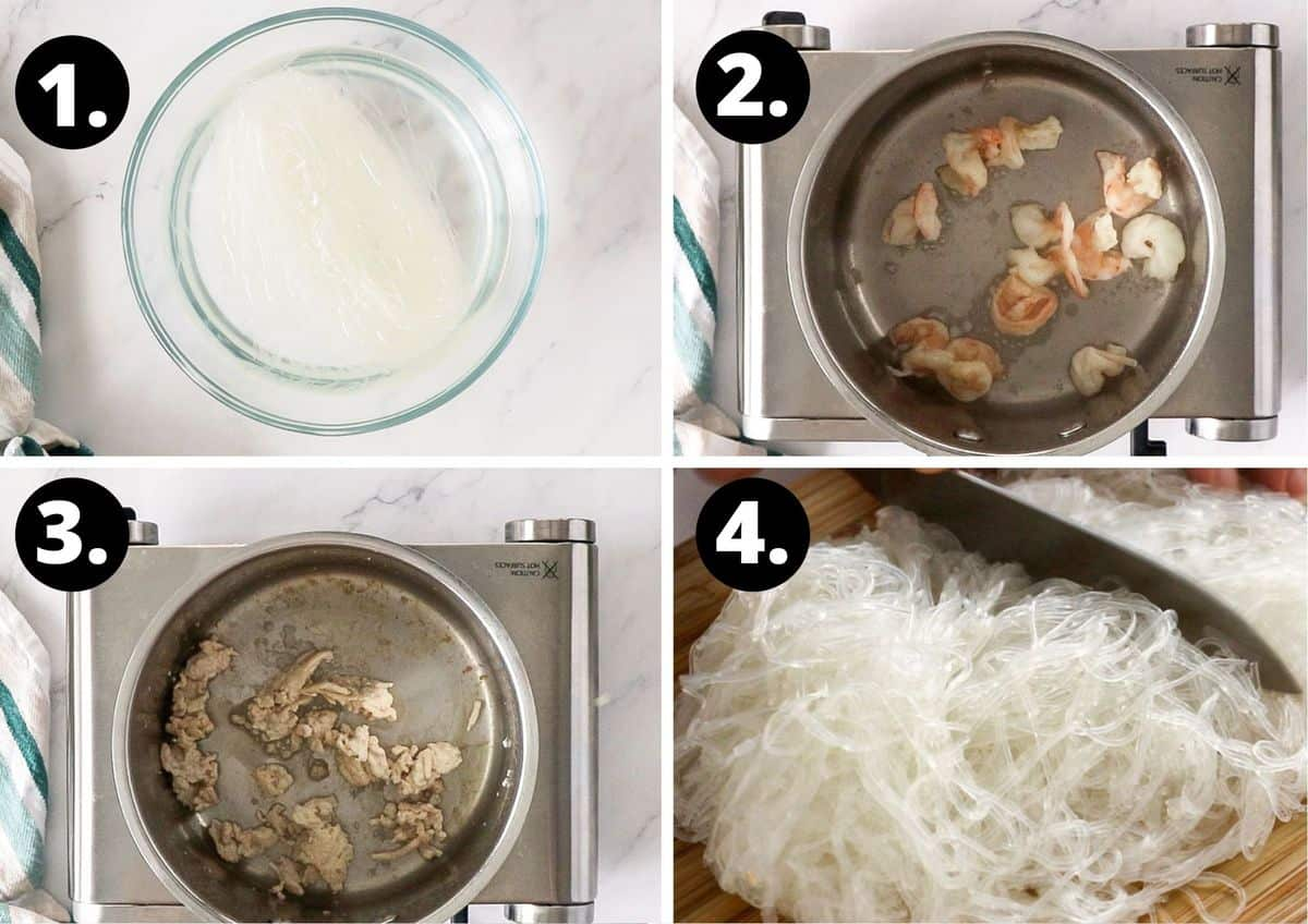 the first four steps to make this recipe in a collage - soaking the noodles, cooking the prawns, cooking the chicken and chopping the noodles.