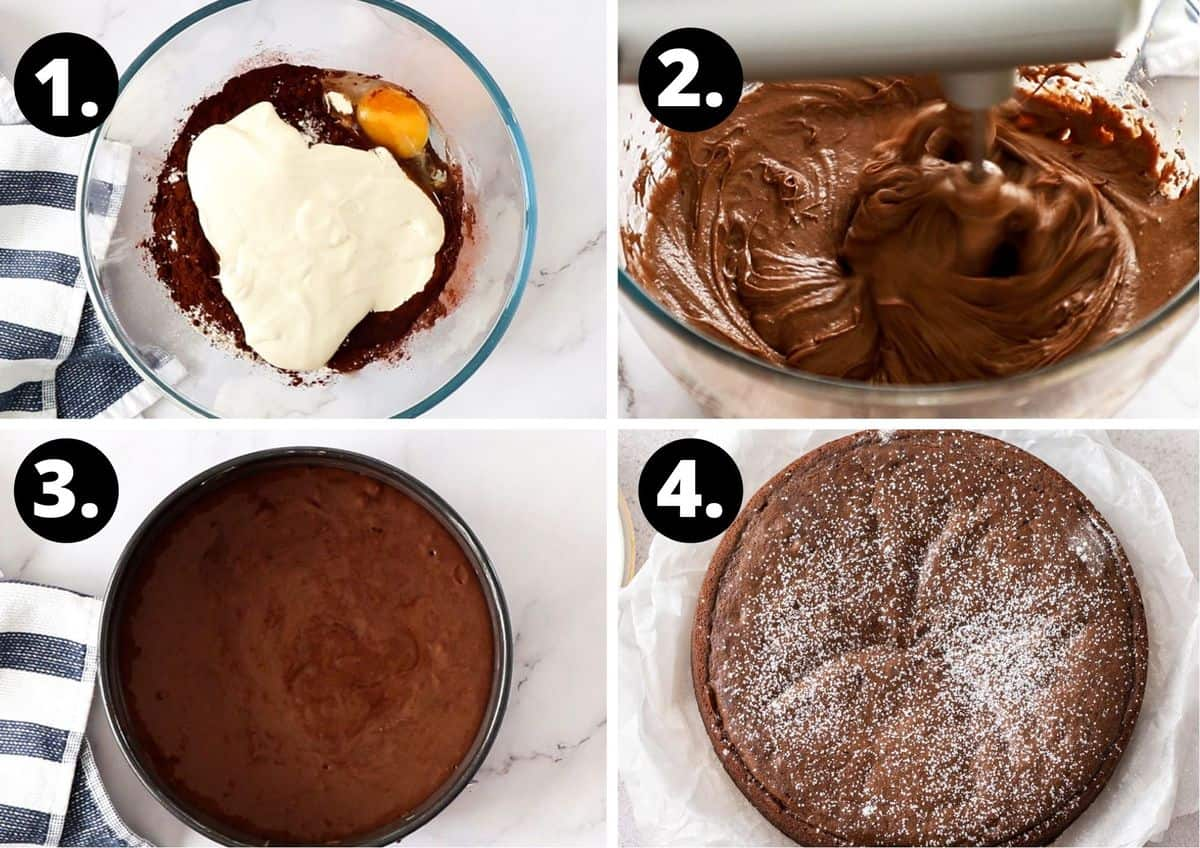 The four steps to make this recipe in a photo collage - adding the ingredients to the bowl, the mixture being beaten, the mixture in the tin and the cooked cake dusted with icing sugar.