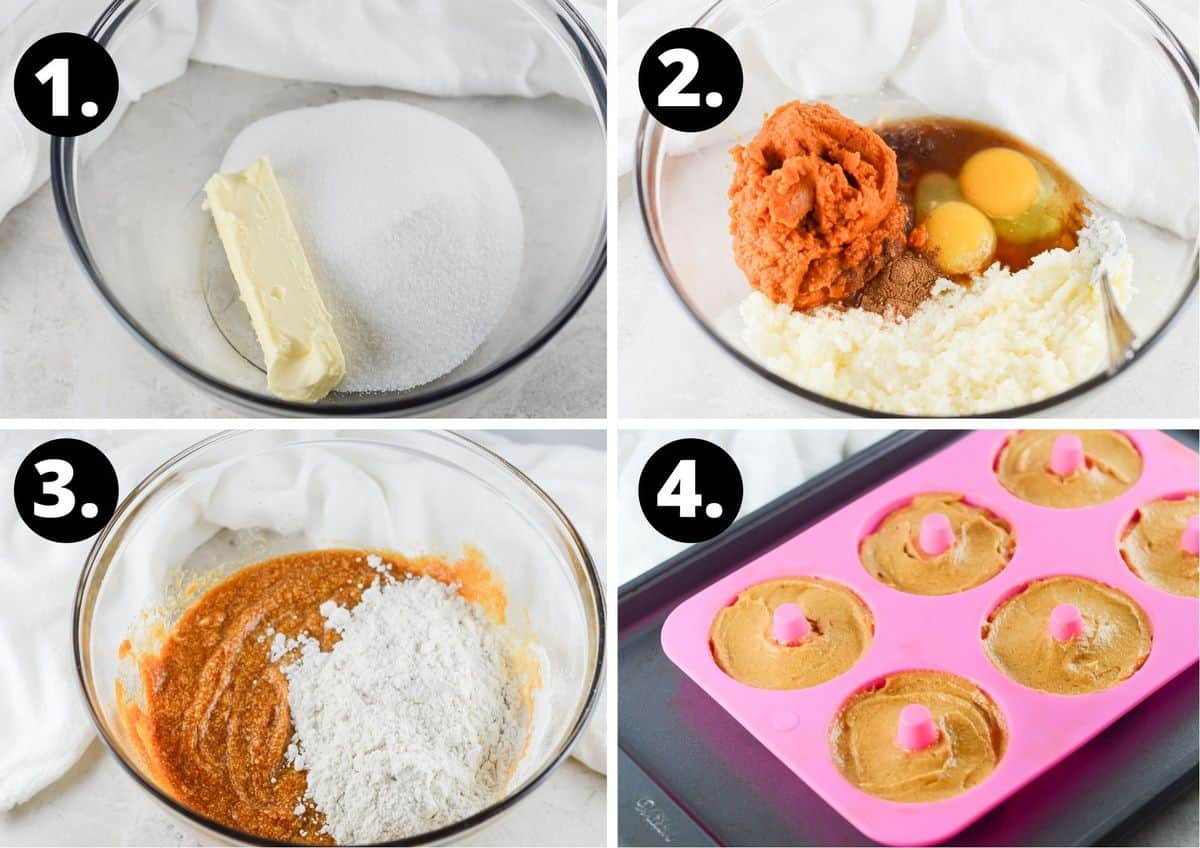 The four steps to make this recipe in a photo collage - the butter and sugar in a bowl, the pumpkin and eggs being added to the creamed butter and sugar mixture, the flour being added to the mixture, and the mixture in doughnut tin.