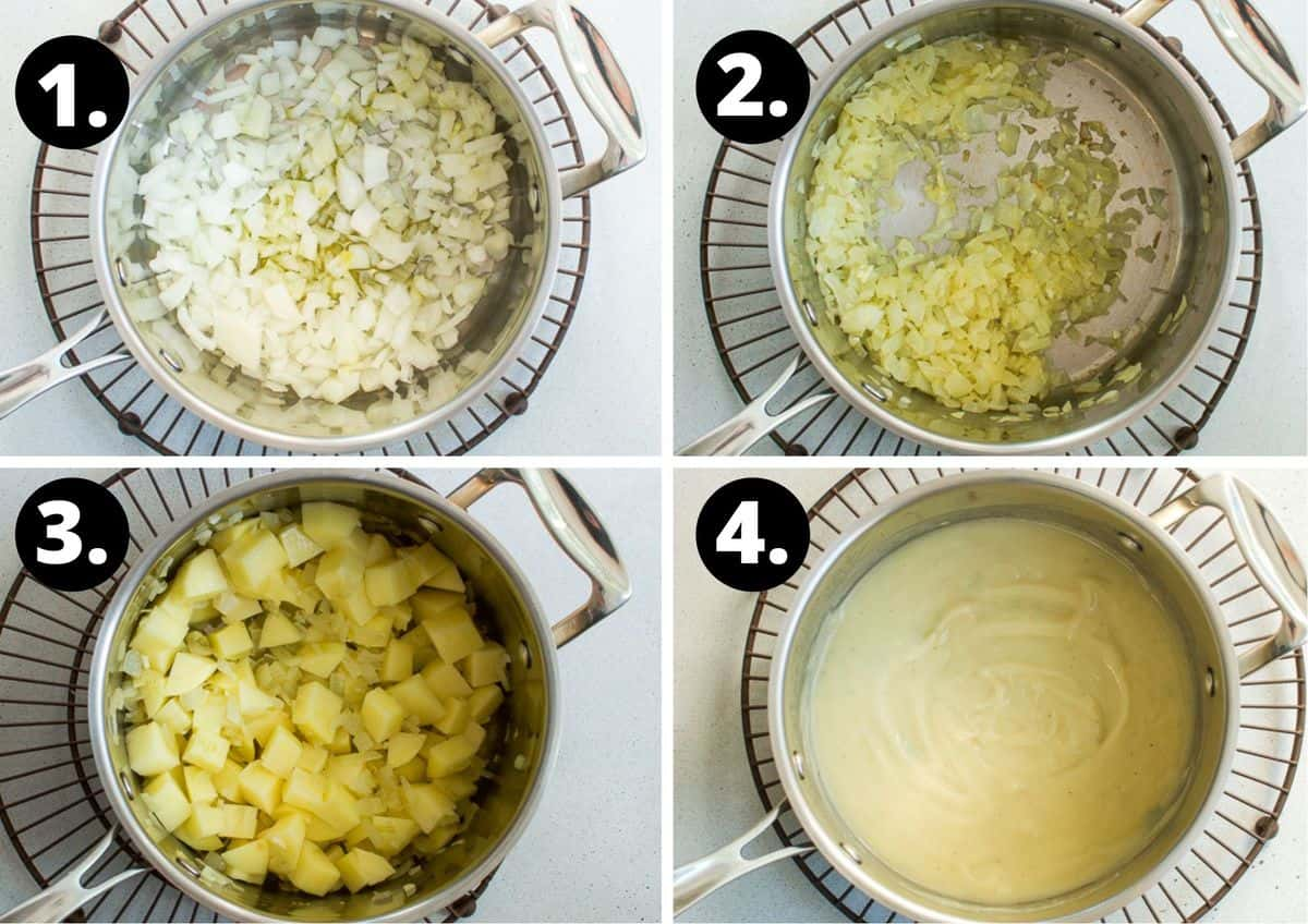 the four steps to make this recipe in a photo collage - the onions in the saucepan, the cooked onions, adding the potatoes to the saucepan and the cooked and pureed soup in the saucepan.